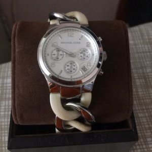 Michale Kors silver and tortoise watch